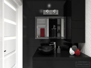 czarno-biała mała łazienka