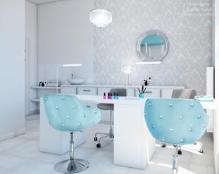projekt salon kosmetyczny turkus