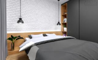 sypialnia z cegłą nowoczesna